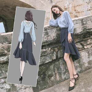 2018新款初秋冬女装时尚两件套名媛小香风连衣裙时髦鱼尾裙套装女