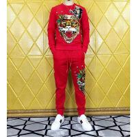男装个性化印花短袖运动套装欧美潮牌烫钻老虎头印花套装男士卫衣卫裤潮流休闲运动两件套套装 红色