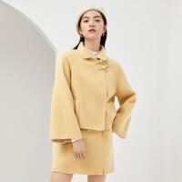 伊芙丽毛呢外套女2020冬季韩版短款羊毛双面呢国风盘扣呢大衣