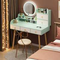 北欧梳妆台卧室 小户型收纳柜一体台现代简约LED灯化妆桌