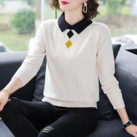 2019秋冬韩版针织衫女宽松套头短款毛衣女假两件打底衫女长袖
