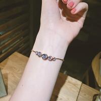 手链女个性大小圆环人造锆石手链复古潮流欧美配饰品