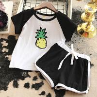 儿童运动休闲套装2018夏装糖果色系水果短袖短裤幼儿园两件套 黑色 100(建议身高95cm)