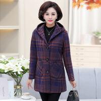 中老年女装妈妈装外套中年女大码冬装40-50岁中长款格子毛呢外套 单款 紫色格子 XL 建议90-108斤