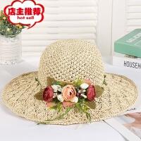 出游遮阳度假帽子定制手工花朵草帽小清新沙滩帽百搭旅游凉帽批发