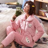 睡衣女秋冬珊瑚绒夹棉女士三层加厚保暖可爱法兰绒套装家居服冬季 18515 猫咪秀秀