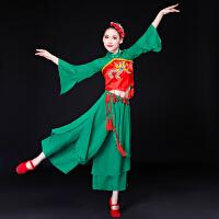 儿童古典舞演出服女飘逸中国风伞舞服装2018新款秧歌服腰鼓扇子舞 绿色款