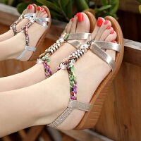坡跟凉鞋女高跟鞋粗跟新款女鞋子女学生韩版夏平底百搭仙女风