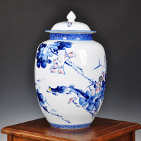 景德�陶瓷茶�~罐大�6斤手�L青花瓷普洱茶缸密封防潮茶具醒茶罐