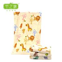 [当当自营]竹之锦 竹纤维双层卡通印花儿童加大毛巾 童巾 中巾6989狮子