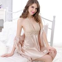 情趣套装性感睡衣女夏家居服套装挂脖吊带睡裙两件套蕾丝露背内衣