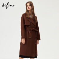 伊芙丽翻领双排扣长袖系带羊毛大衣