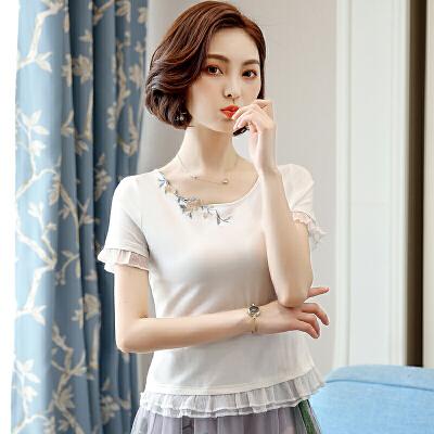 雪纺木耳边棉白色T恤女短袖修身短款2018新款配裙子的上衣棉  X 发货周期:一般在付款后2-90天左右发货,具体发货时间请以与客服协商的时间为准