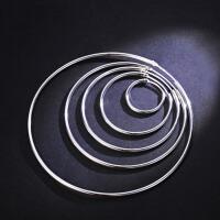 女士个性气质耳坠耳钉耳饰圆形圆圈圈款圆环耳环925银大小耳圈