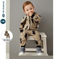 【限时1件6折 2件5.5折】迷你巴拉巴拉婴儿套装男宝宝两件套2019秋新款印花廓形连帽套装