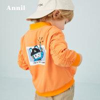 【活动价:149.5】安奈儿童装男小童夹克外套洋气工装口袋2020新款宝宝棒球服印花春