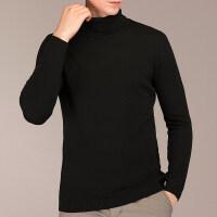 高领纯色羊毛衫秋冬潮流针织衫男士长袖修身加厚冬季上衣男装