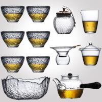 日式耐热玻璃功夫茶具茶道家用简约锤纹泡茶壶加厚透明茶杯套装