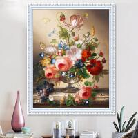 印花十字绣新款客厅线绣简约现代小幅花卉卧室油画花瓶