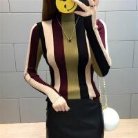 秋冬半高领毛衣女套头短款针织衫长袖套头修身百搭条纹打底衫