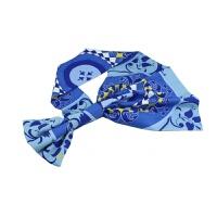 中国建设银行新款建行丝巾 蓝色黄色同款女士柜员 领花长巾