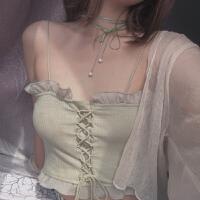芥末抹茶绿荷叶花边交叉绑带修身短款外穿吊带背心女