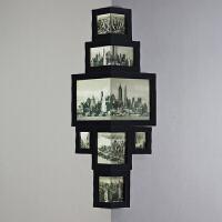 美式客厅复古相框创意挂墙组合相片墙书房墙转角相框欧式画框 黑色 黑