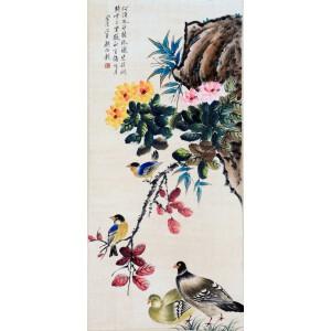 京津画派著名的花鸟画家   颜伯龙《花鸟》