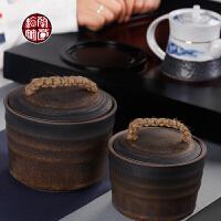 粗陶茶叶罐鎏金宽口存放罐复古密封普洱茶茶饼储存罐