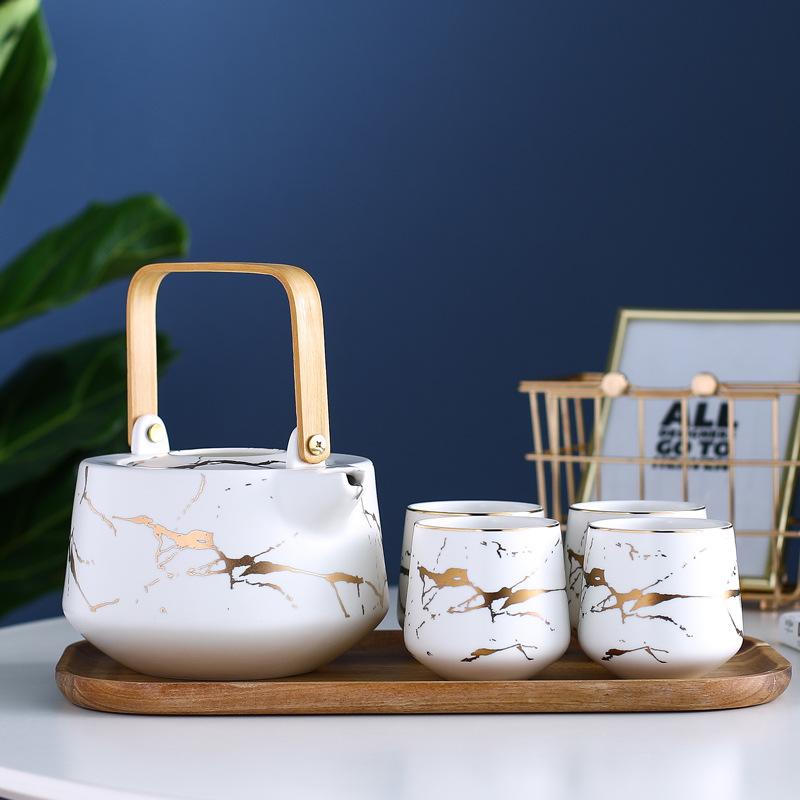 客厅家用水具套装创意陶瓷北欧风杯具整套简约花茶茶具带托盘