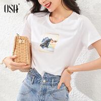 【超品叠券预估价:83】OSA白色短袖T恤女夏装2020年新款流行时尚巨显瘦体恤上衣百搭夏季