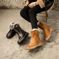 ��菲���D秋冬新款女靴羊皮毛一�w保暖�R丁靴平底百搭雪地靴女8021A