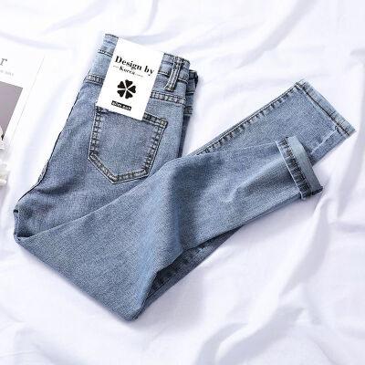 高腰紧身牛仔裤女韩版显瘦九分小脚裤铅笔长裤 浅蓝 特惠秒杀003款