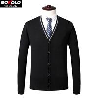 秋冬季开衫纯含绵羊毛男士扣子长袖毛衣商务休闲中老年装针织外套SW9062