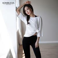 【女神特惠价】Kombucha瑜伽服三件套女士速干透气宽松半袖T恤文胸蜜桃长裤运动健身组合套装HXFH008T3
