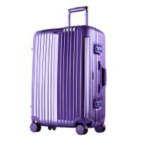 行李箱女20寸学生万向轮拉杆箱24寸韩版小清新旅行箱男26寸密码皮箱子 铝框款镜面香芋紫 20寸