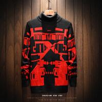 高领毛衣男士韩版修身秋冬季潮流个性针织打底衫帅气青少年羊毛衫 酒红色 216红色