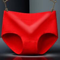 本命年女式内裤性感中腰蕾丝大红色内裤结婚三角裤猪年