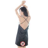性感情趣内衣诱惑女露背低胸制服激情套装吊带睡裙 黑色【M】
