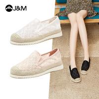 jm快乐玛丽渔夫鞋女2021春夏新款一脚蹬百搭仙女风帆布鞋厚底布鞋