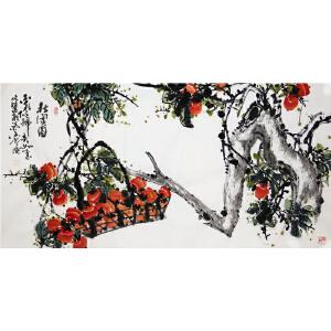 手绘柿子《秋实图》高文选 中国国书画家协会会员R3710