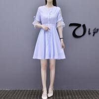 连衣裙女夏2019新款韩版喇叭袖浅蓝色竖条纹小清新小个子网纱裙子 浅蓝色