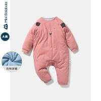 【限时1件6折 2件5折】迷你巴拉巴拉婴儿连体衣男女宝宝夹棉可爱内着连身衣2019冬季爬服