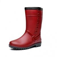 冬季时尚女士雨鞋中筒雨靴加绒棉胶鞋仿皮水鞋保暖防滑水套鞋 XF108红色 偏小一码