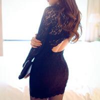 性感蕾丝紧身旗袍情趣内衣夜店OL秘书制服小胸激情透视套装女 黑色