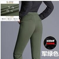 冬季新品保暖裤女加绒弹力雪花仿牛仔高腰中年妈妈装外穿打底裤女