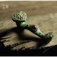 吉祥如意紫砂茶宠玩物摆件精品可养茶玩国民绿泥 镀金款如意