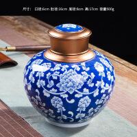 景德�陶瓷�手工制手�L青花普洱茶�~罐存��家用密封罐大�一斤�b