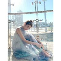 网纱蝴蝶结连衣裙2019夏装新款渐变色短裙子吊带裙两件套仙女裙潮 灰蓝