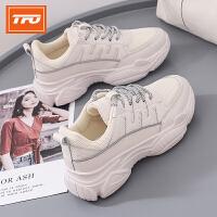 【下单即享7折优惠】TFO 19新款运动休闲鞋女厚底松糕老爹鞋韩版百搭小白鞋女
